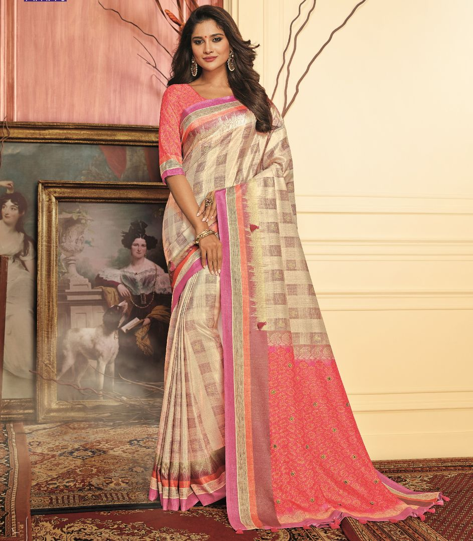 Cream & Pink Color Tusser Silk Festive Wear Sarees NYF-3773 - YellowFashion.in