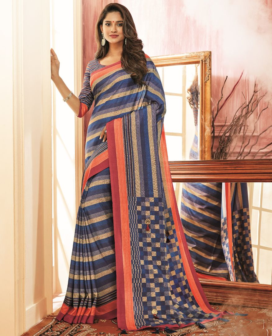 Blue Color Tusser Silk Festive Wear Sarees NYF-3774 - YellowFashion.in