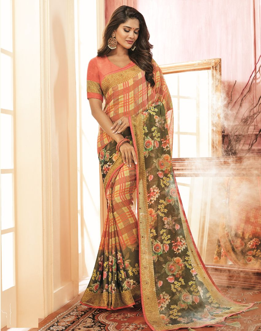 Yellow & Pink Color Georgette Festive Wear Sarees NYF-3776 - YellowFashion.in