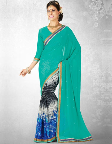 Sea Green & Blue Color Georgette Casual Party Sarees : Nainika Collection  YF-45619