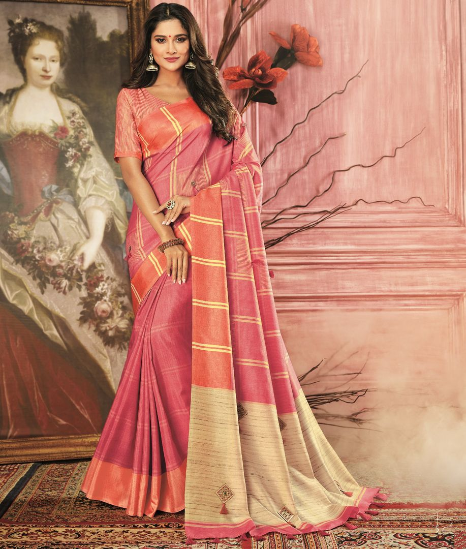 Pink Color Tusser Silk Festive Wear Sarees NYF-3777 - YellowFashion.in