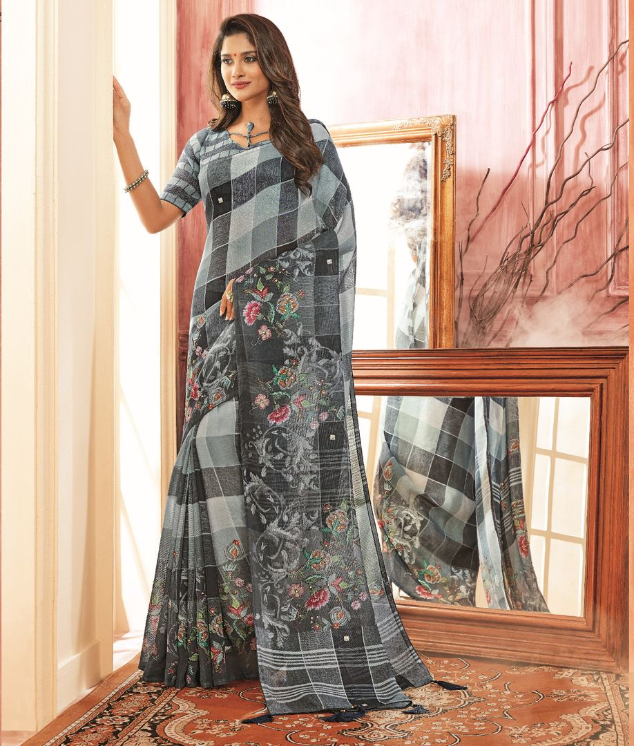 Grey Color Tusser Silk Festive Wear Sarees NYF-3778 - YellowFashion.in