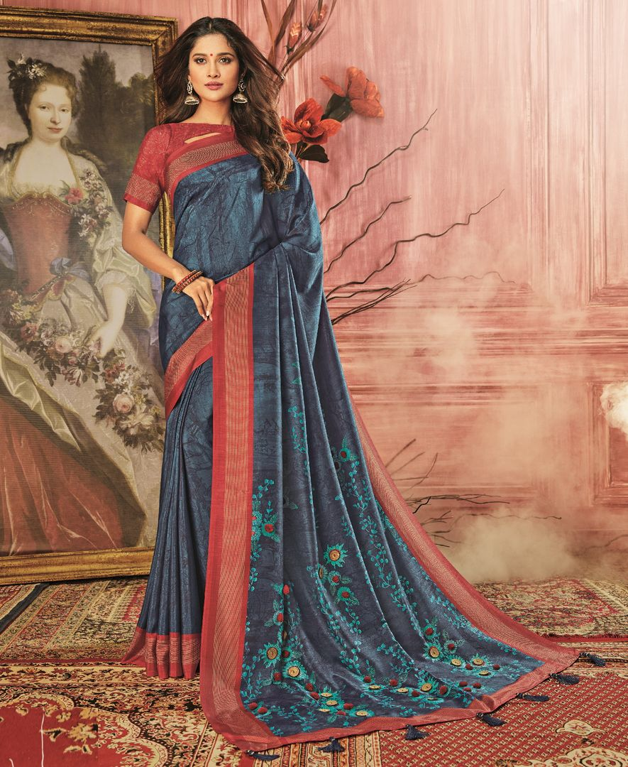 Blue Color Tusser Silk Festive Wear Sarees NYF-3779 - YellowFashion.in