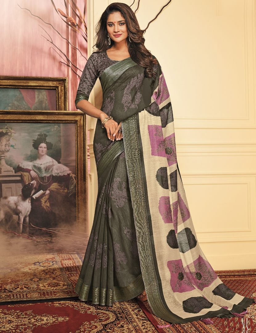 Dark Grey Color Chiffon Festive Wear Sarees NYF-3780 - YellowFashion.in