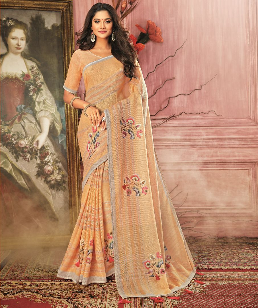 Light Orange Color Georgette Festive Wear Sarees NYF-3781 - YellowFashion.in
