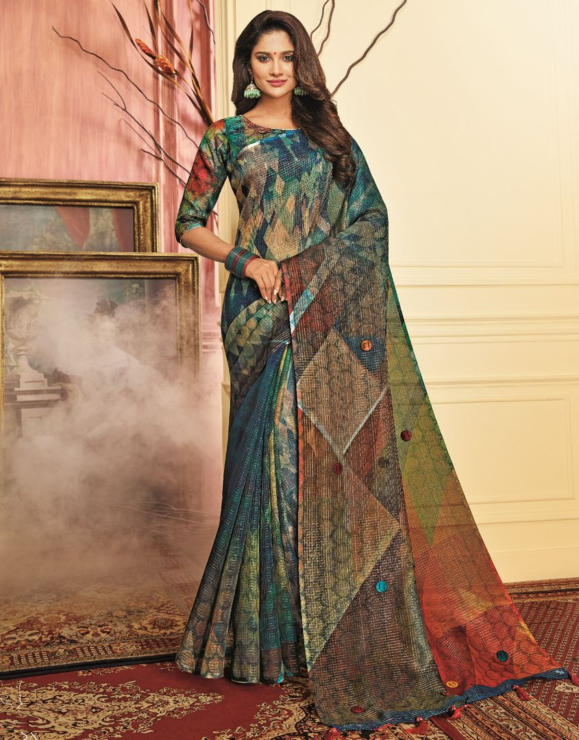 Multi Color Tusser Silk Festive Wear Sarees NYF-3782 - YellowFashion.in
