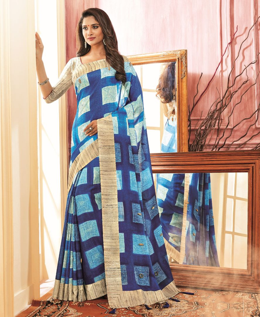 Blue Color Chiffon Festive Wear Sarees NYF-3783 - YellowFashion.in