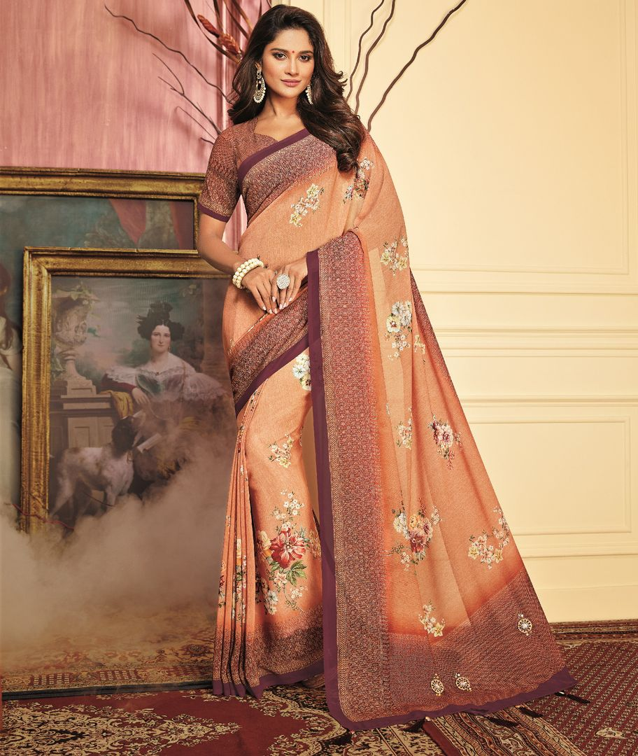 Peach Color Chiffon Festive Wear Sarees NYF-3784 - YellowFashion.in