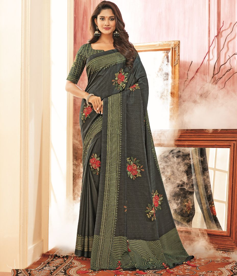 Blackish Grey Color Tusser Silk Festive Wear Sarees NYF-3785 - YellowFashion.in