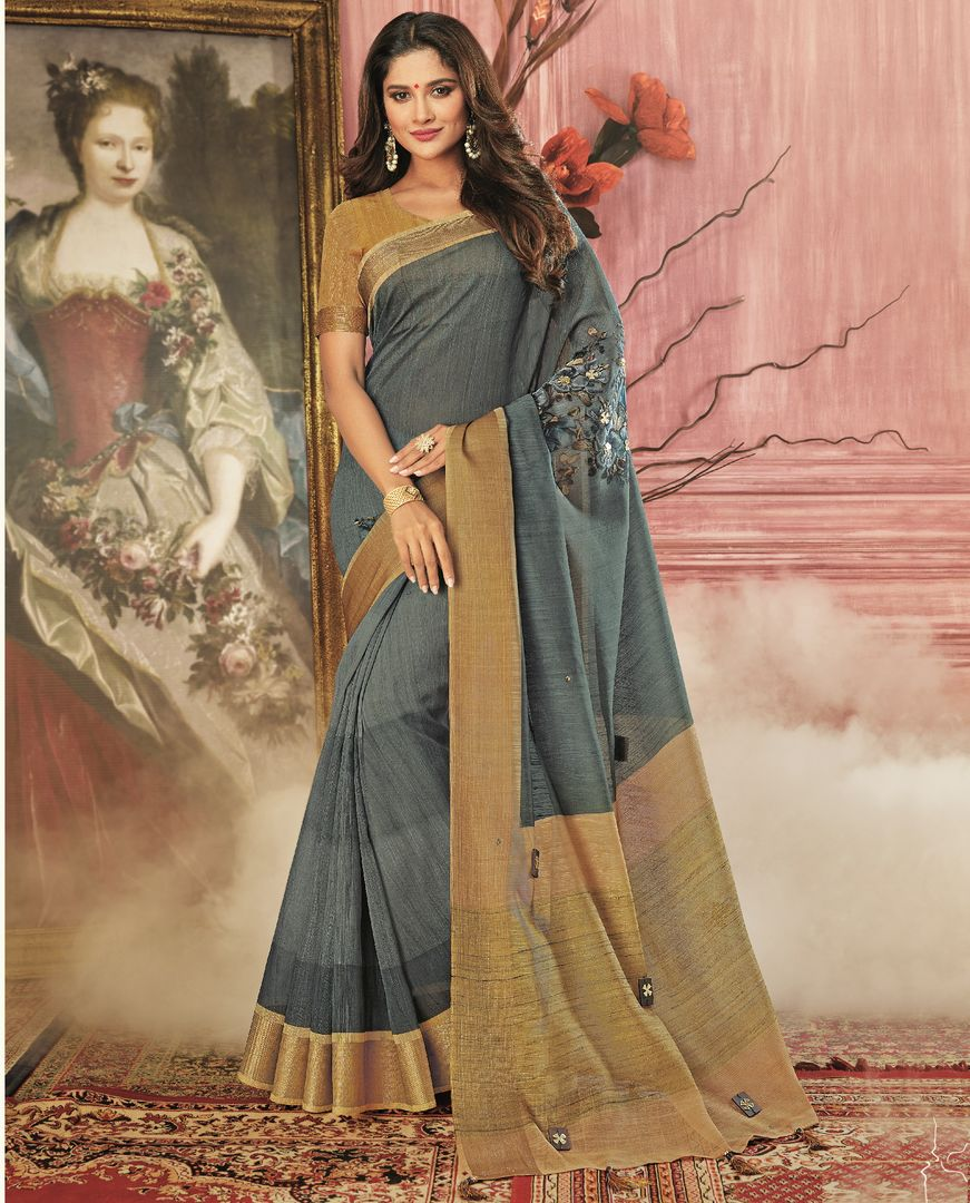 Grey Color Tusser Silk Festive Wear Sarees NYF-3786 - YellowFashion.in