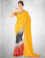 Yellow & Orange Color Georgette Casual Party Sarees : Nainika Collection  YF-45620