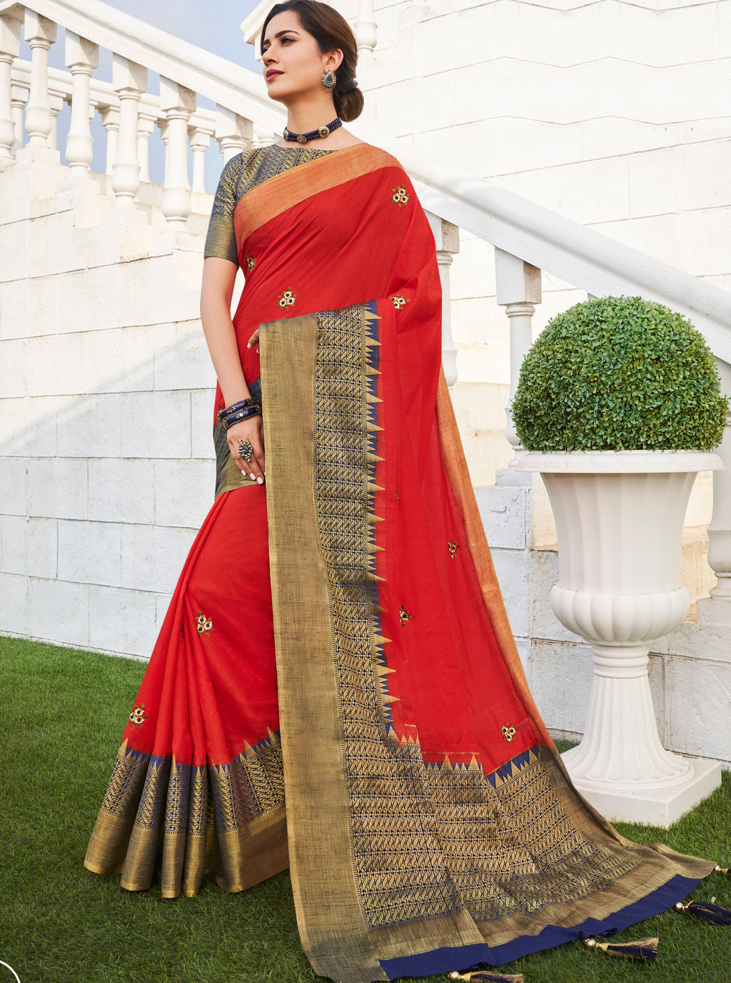 Sindoori Color Banarasi Cotton Silk  Sarees For Newly Wedded NYF-5714