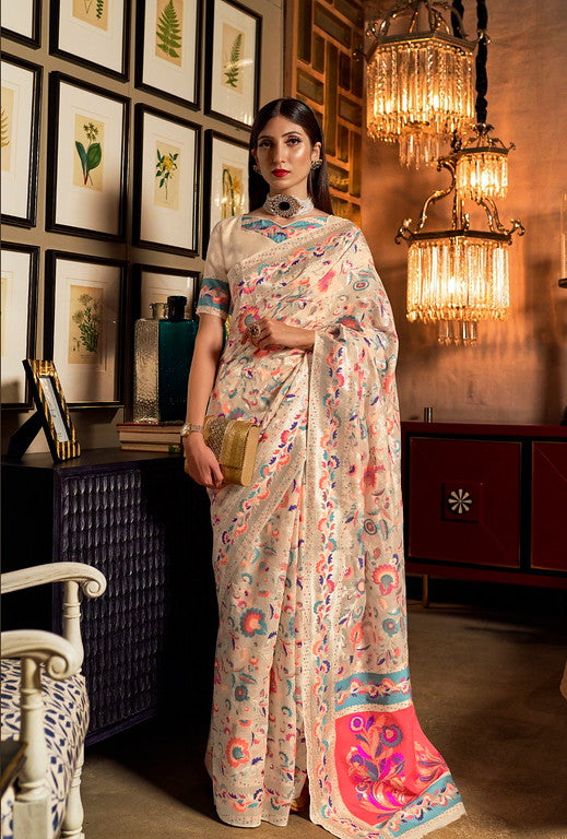 Creamish White Color Jamewar Banarasi  Traditional Saree - Charita Collection YF#11022