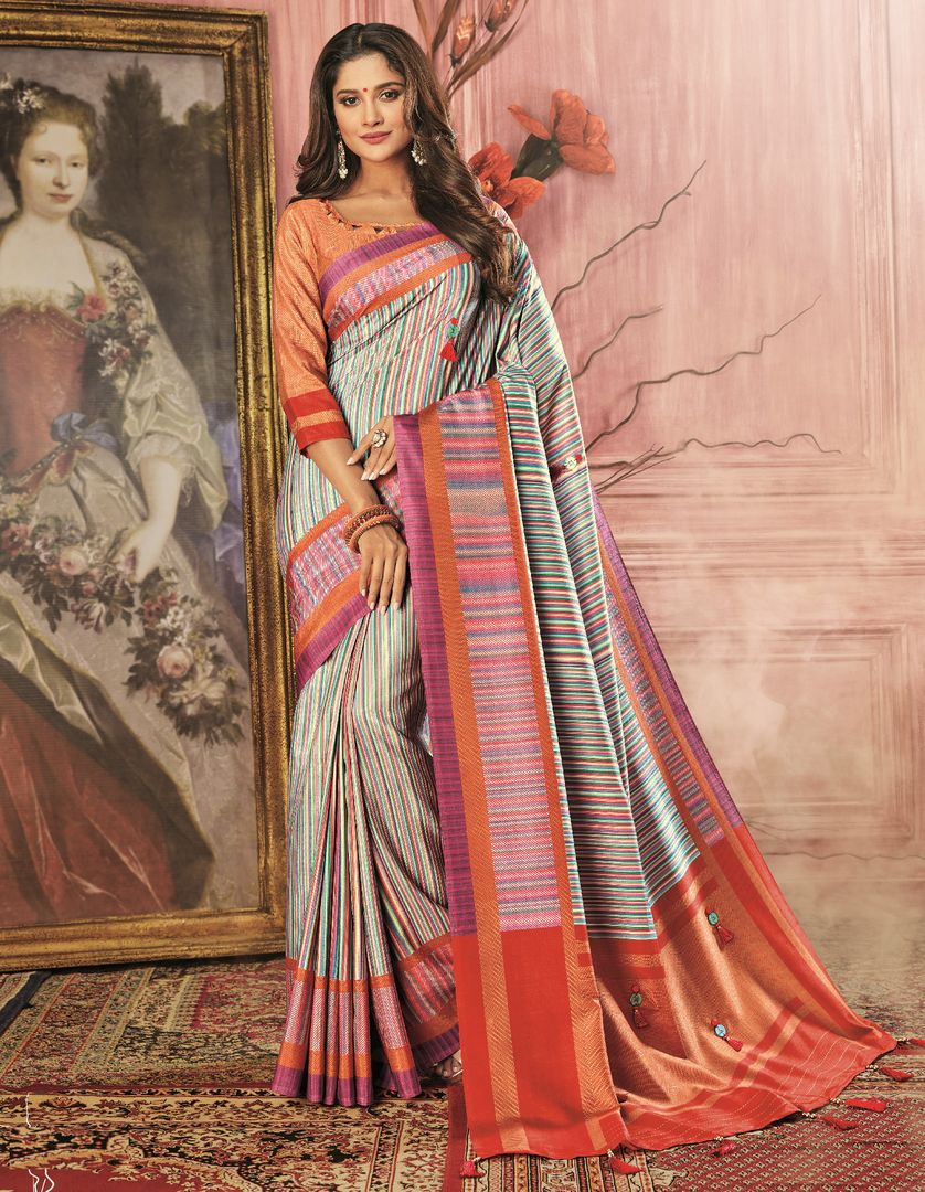 Multi Color Tusser Silk Festive Wear Sarees NYF-3788 - YellowFashion.in