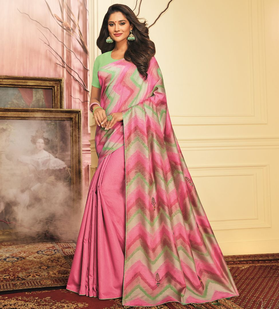 Pink Color Tusser Silk Festive Wear Sarees NYF-3789 - YellowFashion.in