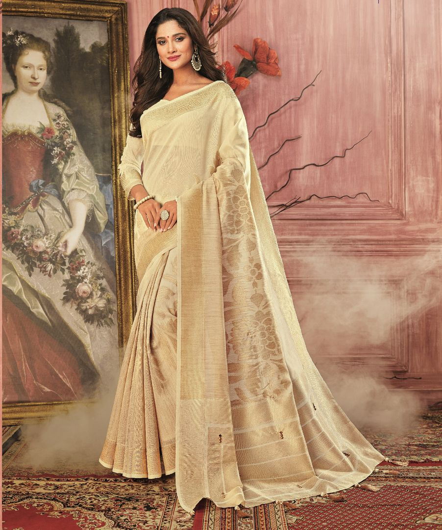 Cream Color Tusser Silk Festive Wear Sarees NYF-3790 - YellowFashion.in
