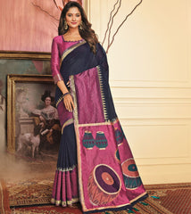 Blue Color Tusser Silk Festive Wear Sarees NYF-3791