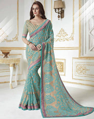 Aqua Blue Color Georgette Brasso Party Wear Sarees : Khushali Collection  YF-45005