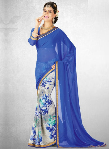 Blue Color Georgette Casual Party Sarees : Nainika Collection  YF-45622