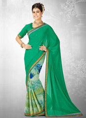 Green Color Georgette Casual Party Sarees : Nainika Collection  YF-45623