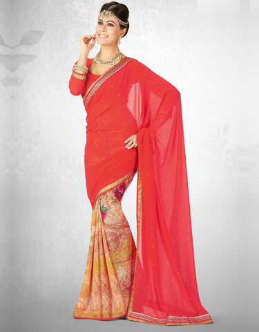 Reddish Pink Color Georgette Casual Party Sarees : Nainika Collection  YF-45624