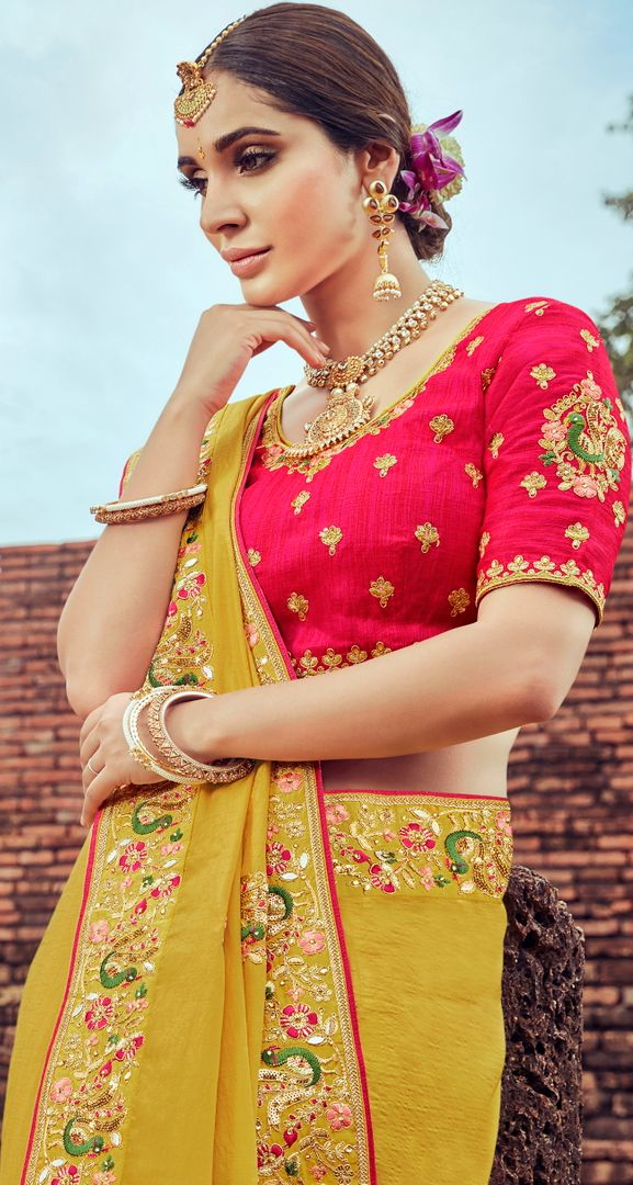 Mustard Yellow Color Silk Pretty Designer Sarees NYF-5019
