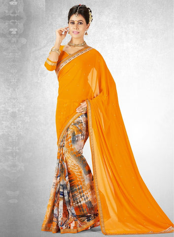 Mango Yellow Color Georgette Casual Party Sarees : Nainika Collection  YF-45625