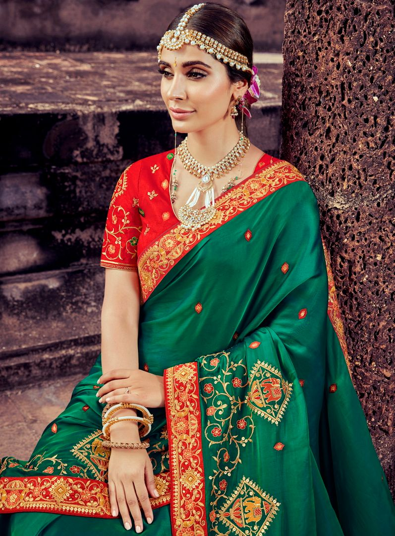Green Color Silk Pretty Designer Sarees NYF-5020