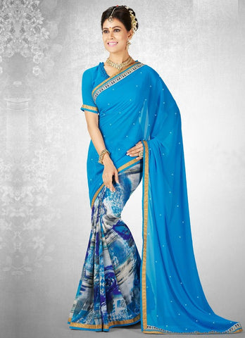Sky Blue Color Georgette Casual Party Sarees : Nainika Collection  YF-45626