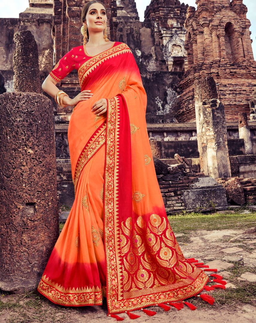 Orange Color Silk Pretty Designer Sarees NYF-5021