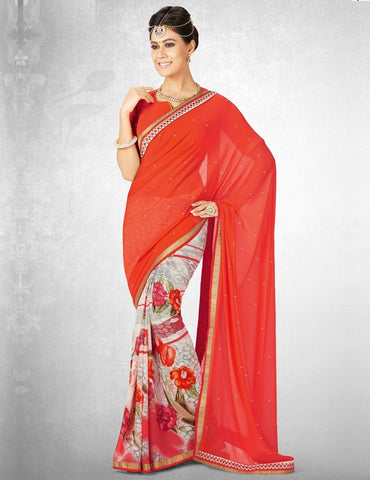 Orange Color Georgette Casual Party Sarees : Nainika Collection  YF-45627