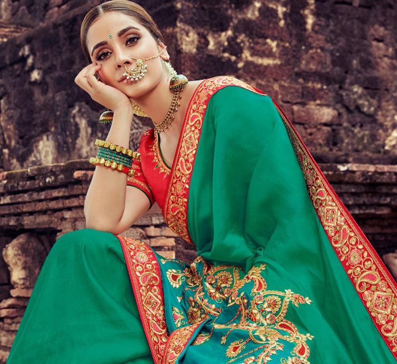 Peacock Green Color Silk Pretty Designer Sarees NYF-5022