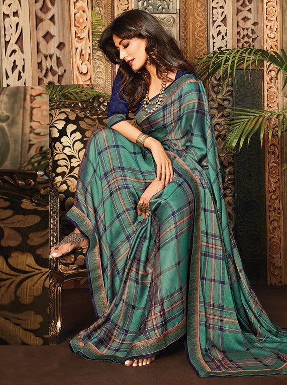 Greenish Blue Color Georgette Casual Wear Saree- Aashvi Collection  YF#10534