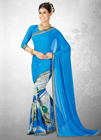 Ocean Blue Color Georgette Casual Party Sarees : Nainika Collection  YF-45628