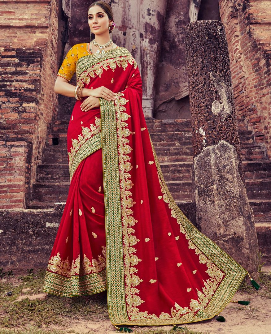 Red Color Silk Pretty Designer Sarees NYF-5023