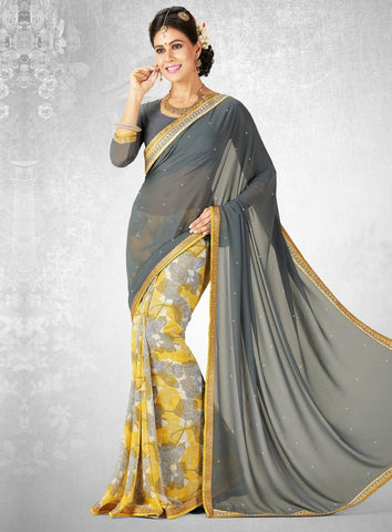 Yellow & Grey Color Georgette Casual Party Sarees : Nainika Collection  YF-45629