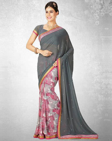 Grey & Pink Color Georgette Casual Party Sarees : Nainika Collection  YF-45630