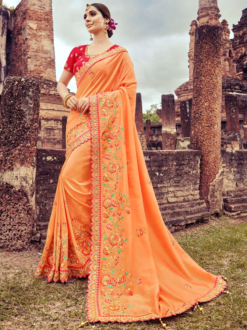 Peach Color Silk Pretty Designer Sarees NYF-5025
