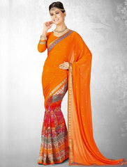 Orange Color Georgette Casual Party Sarees : Nainika Collection  YF-45631