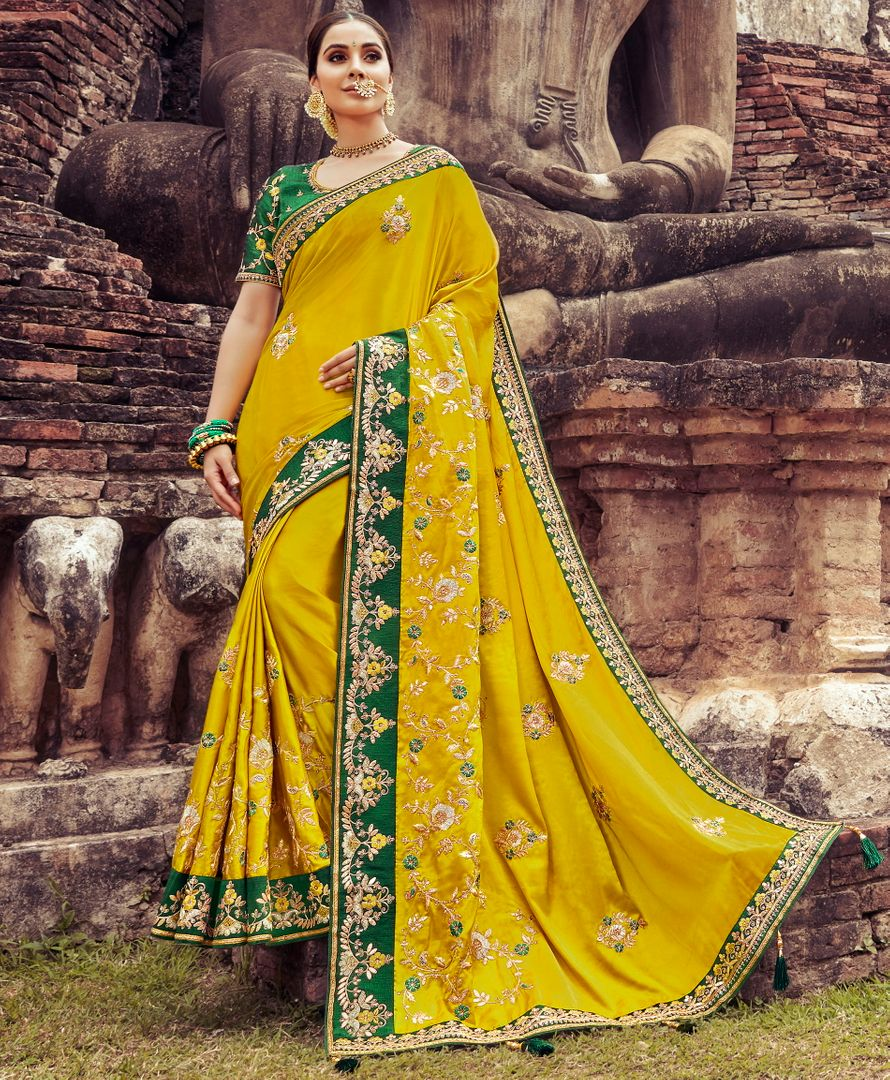 Mustard Yellow Color Silk Pretty Designer Sarees NYF-5026