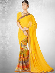 Yellow Color Georgette Casual Party Sarees : Nainika Collection  YF-45632