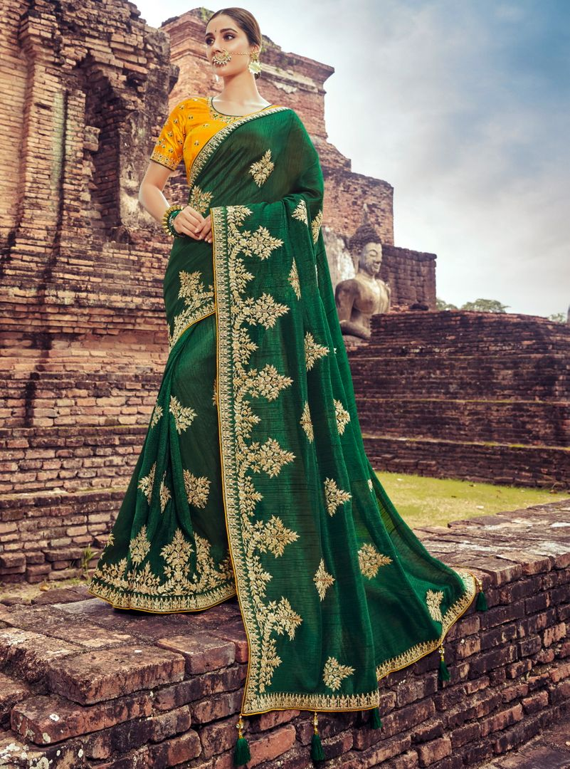 Green Color Silk Pretty Designer Sarees NYF-5027