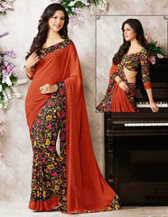 Saffron Color Crepe Casual Party Sarees : Soniya Collection  YF-30547