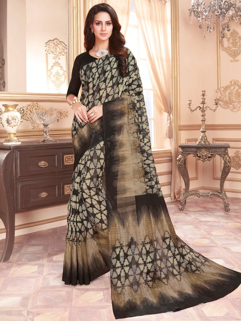 White & Black Color Cotton Silk Casual Party Sarees : Ambala Collection  NYF-2190 - YellowFashion.in