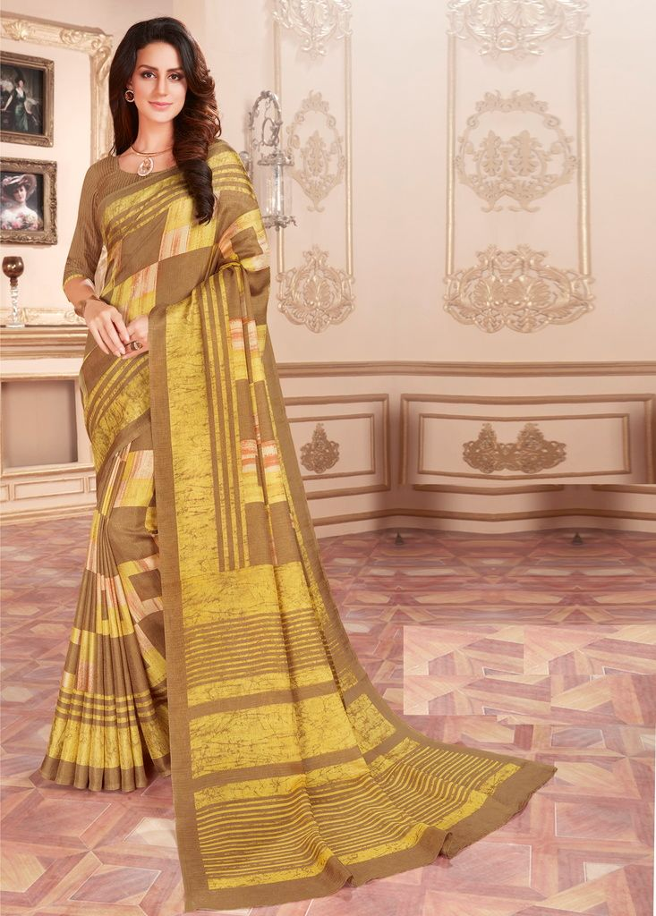 Yellow & Light Coffee Color Cotton Silk Casual Party Sarees : Ambala Collection  NYF-2193 - YellowFashion.in