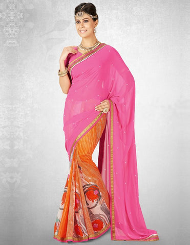 Pink & Orange Color Georgette Casual Party Sarees : Nainika Collection  YF-45633