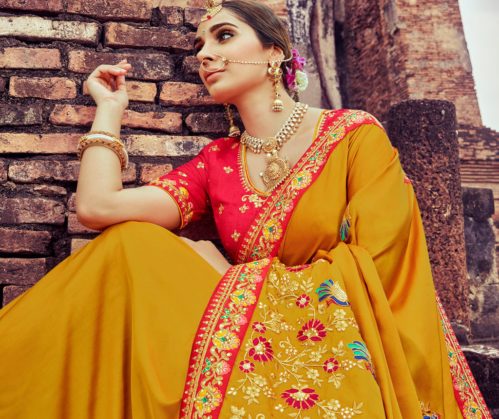 Mustard Yellow Color Silk Pretty Designer Sarees NYF-5028
