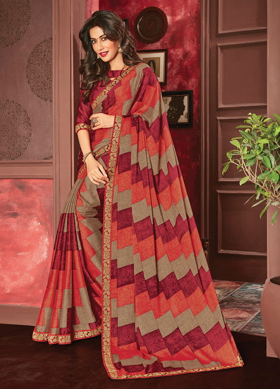Multi Color Georgette Casual Wear Saree- Aashvi Collection  YF#10540