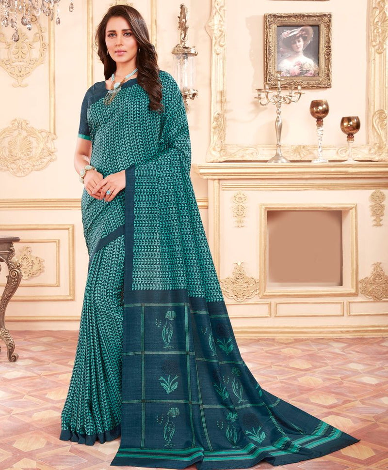 Blue & Firozi Color Cotton Silk Casual Party Sarees : Ambala Collection  NYF-2203 - YellowFashion.in
