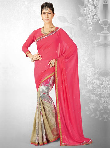 Pink Color Georgette Casual Party Sarees : Nainika Collection  YF-45634